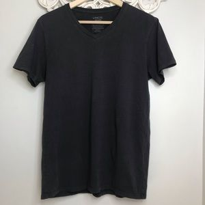 Mens Vince V Neck T Shirt Charcoal Tee SS SMALL